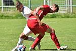 Utkání 2. kola Moravskoslezské fotbalové ligy Baník Ostrava B (bílé dresy) - FK Blansko skončilo nerozhodně 1:1.