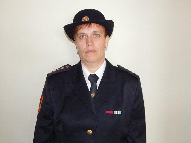 Starostka Sboru dobrovolných hasičů Velké Opatovice Martina Přichystalová.
