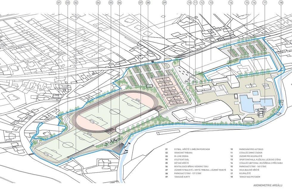 Boskovičtí představili architektonickou studii sportovního areálu Červená zahrada. Na snímku první varianta.
