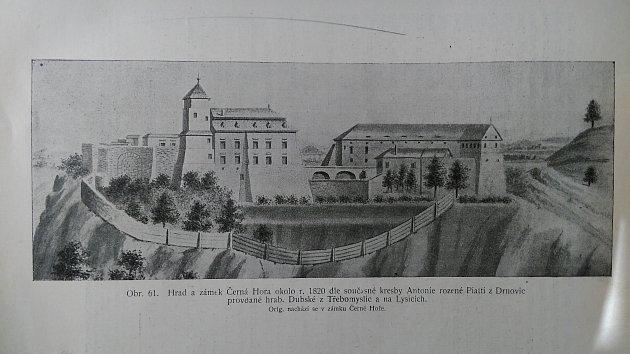 Podoba zámku vČerné Hoře kolem roku 1820.