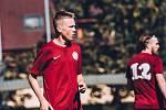 Fotbalisté Sparty (v červeném) v domácím utkání krajského přeboru zdolali Boskovice 2:1.