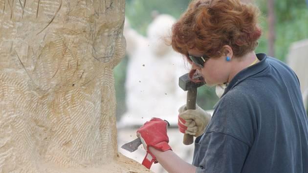 Do Vísek se v těchto dnech sjelo osm studentů sochařství, kteří na tamním sochařském ateliéru tvoří plastiky z pískovce.