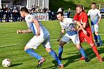 Ve 26. kole Moravskoslezské divize D remizovali fotbalisté FK Blansko (červené dresy) se  Slavojem Polná 1:1.