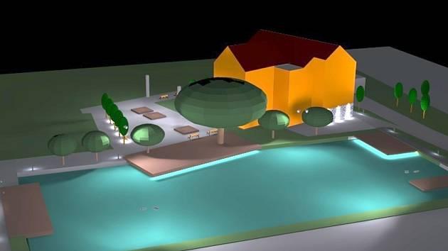 Vizualizace plánované budoucí podoby centra Drnovic.