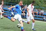 Superliga malého fotbalu, tým Pivovar Černá Hora Blanensko (modré dresy). Ilustrační foto.