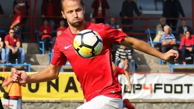 Hrající trenér boskovických fotbalistů Jan Havlíček.