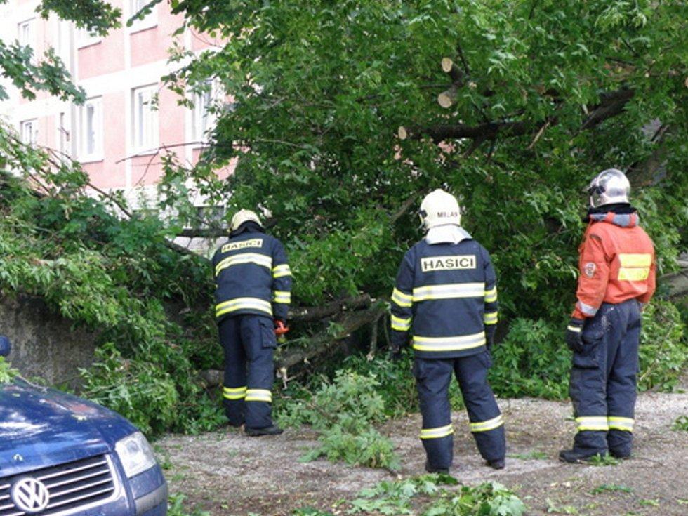 Vichřice vyvracela stromy. Hasiči pracovali na jejich odstranění