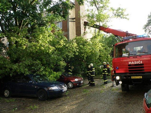 Popadané stromy i větve. Hasiči pracovali na jejich odstranění.