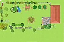 Vizualizace Jabloňové zahrady za kořeneckým muzeem.
