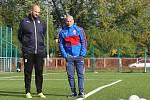 Trenér Jiří Vorlický (vpravo) z Boskovic skončil u reprezentace do patnácti let v roce 2018 kvůli kritice vedení Fotbalové asociace České republiky.
