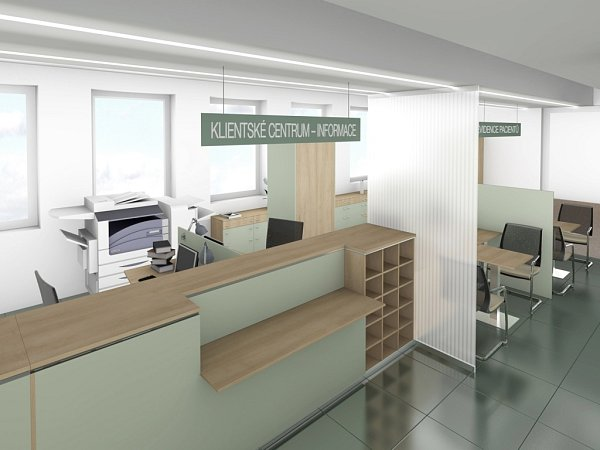 Vizualizace centra klientských služeb vboskovické nemocnici.