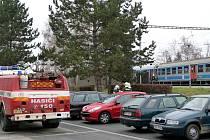 Odstavený vlak, ve kterém hořel vagón, na blanenském nádraží.