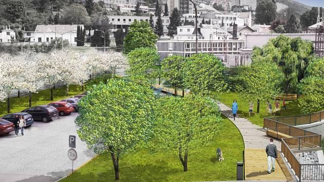 Na vizualizaci je parková úprava adamovského náměstí Práce. Adamovští tam chtějí alej stromů, keře, travnaté plochy a lavičky. Do úprav se plánují pustit letos. Pravděpodobně na podzim.