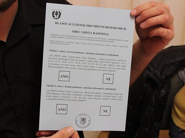 Ve Lhotě Rapotině lidé kromě volby prezidenta hlasovali i v místním referendu.