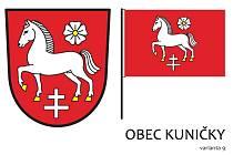 Obyvatelé Kuniček nakonec vybrali variantu číslo devět. Tedy koně, květ lnu a cyrilometodějský kříž na červeném poli. Díky Janu Richterovi z Kuniček, který se o znak velmi aktivně zajímal, doplní znak ještě zelená barva.