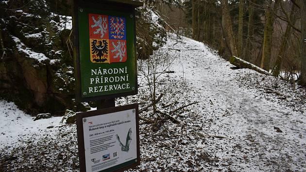 Moravský kras byl o víkendu bez lidí. Kvůli opatřením ohledně epidemie koronaviru a omezenému pohybu lidí. Řadu místních turistů odradilo také mrazivé počasí. Na snímku část rezervace v Josefovském údolí.