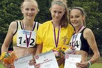 Michaela Hrubá z Bořitova (na snímku vlevo) získala na mistrovství republiky ve vícebojích na dráze stříbro.
