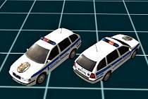 Počítačový model vozidel blanenské policie.