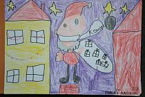 Takto letos při epidemii koronaviru vypadá Ježíšek ve fantazii dětí ze druhé třídy Základní školy Sloup.