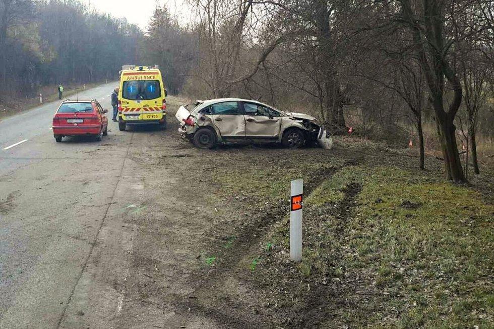 Řidič osobního automobilu Citroen podle předběžného šetření policistů nezvládl vytočit zatáčku, narazil do stromu a se svým autem i dvěma spolujezdkyněmi skončil v řece.