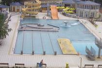 Záběr z webkamery blanenského aquaparku. Archivní snímek