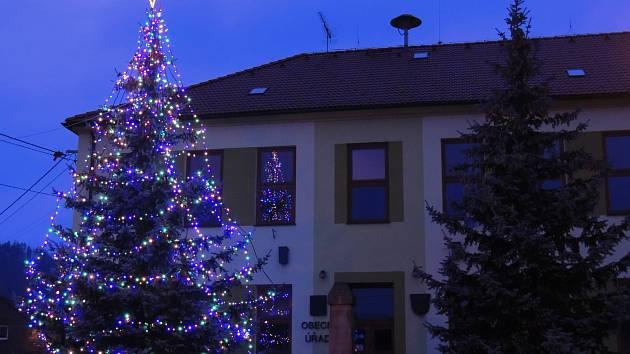 Před obecním úřadem už svítí vánoční strom. Foto: Alena Vaňková