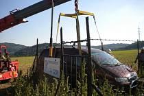 Do regulační stanice plynu u Bořitova v pátek nabouralo auto.