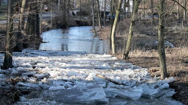 Potok Křetínka plný ledových zátaras z konce letošního února. Kry na mnoha místech poničily stromy podél koryta.