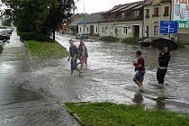 Přívalový déšť zatopil Boskovice