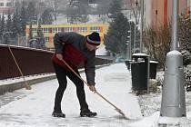 První letošní sníh v Adamově.