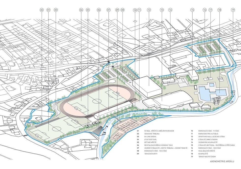 Boskovičtí představili architektonickou studii sportovního areálu Červená zahrada. Na snímku první návrh třetí varianty.