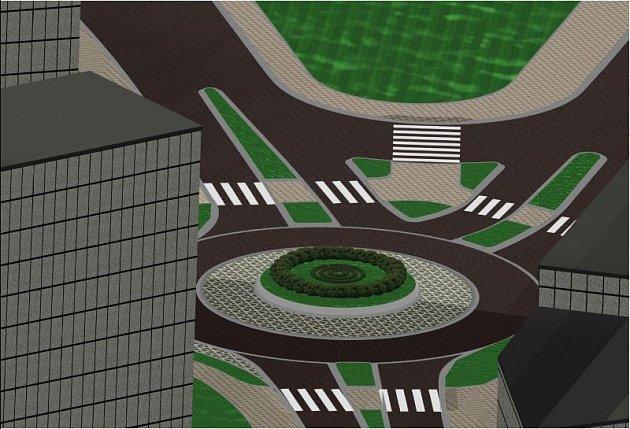 Počítačový návrh nové kruhové křižovatky pod Rudoarmějcem. Pohled od výškového domu na ulici Smetanova.
