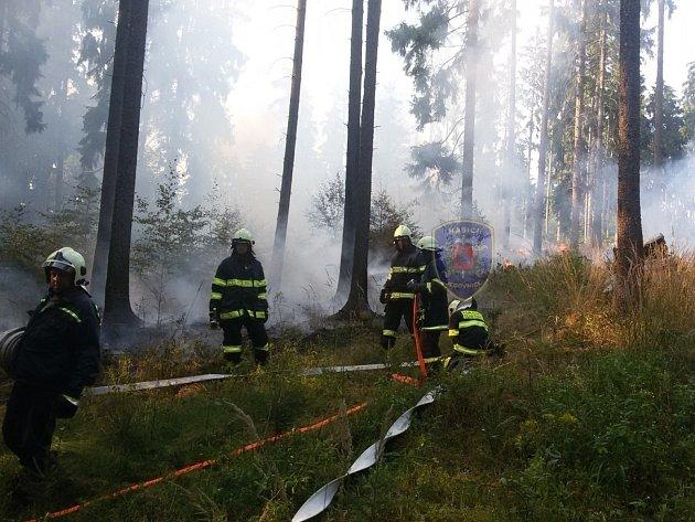 V lese v katastru obce Senetářov hořel les. Hasiči vyhlásili druhý stupeň požárního poplachu.