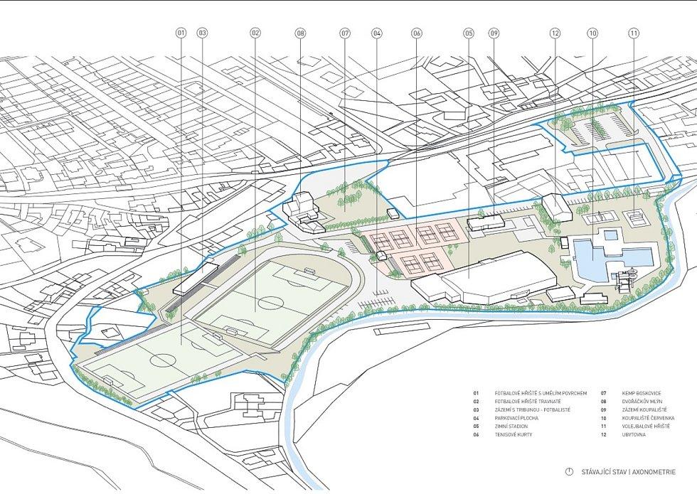 Boskovičtí představili architektonickou studii sportovního areálu Červená zahrada. Na snímku současná podoba areálu.