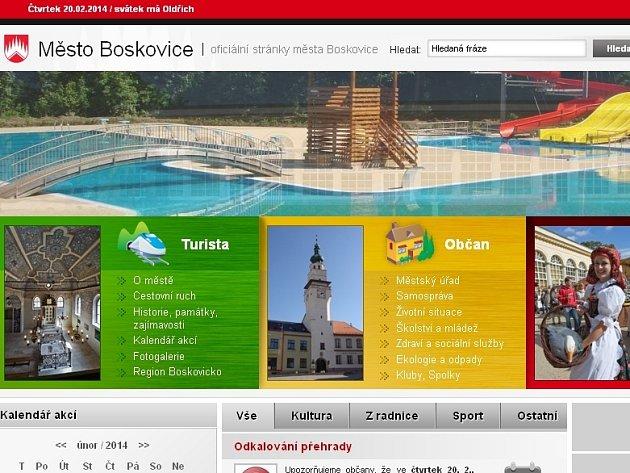 Současné internetové stránky města Boskovice.