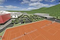 """Studie sportovního areálu """"Červená zahrada"""" v Boskovicích. Vizualizace tří variant."""