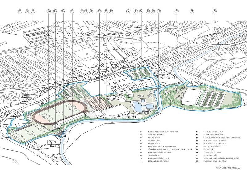 Boskovičtí představili architektonickou studii sportovního areálu Červená zahrada. Na snímku druhý návrh třetí varianty.