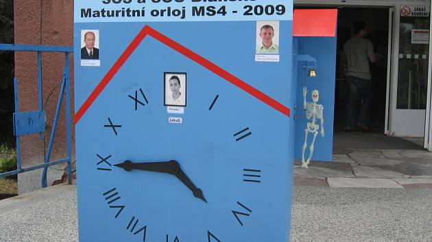 2. místo v okresním kole - Maturitní tablo SOŠ Blansko - pohybující se orloj třídy MS4