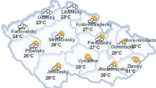 Předpověď počasí na úterý 14. července