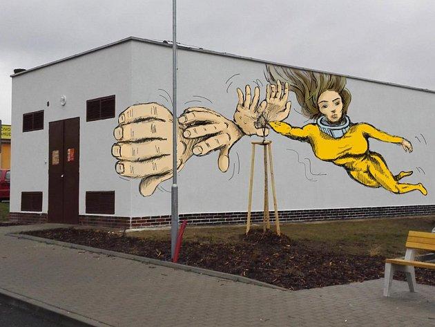 V Boskovicích prodlužují trvání ankety o výtvarné podobě fasády trafostanice za finančním úřadem. Na snímku jeden z návrhů.