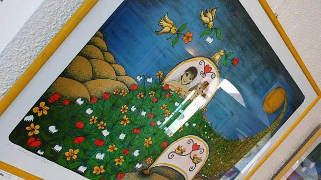 Výstava obrazů a litografie výtvarnice Emmy Srncové v letovické Galerii Pex.