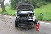 Mimo silnici skončil řidič při cestě ve směru z Jedovnic na Lažánky.