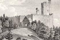 Obrázek zpodobňuje zbytky Nového hradu zhruba v roce 1848.