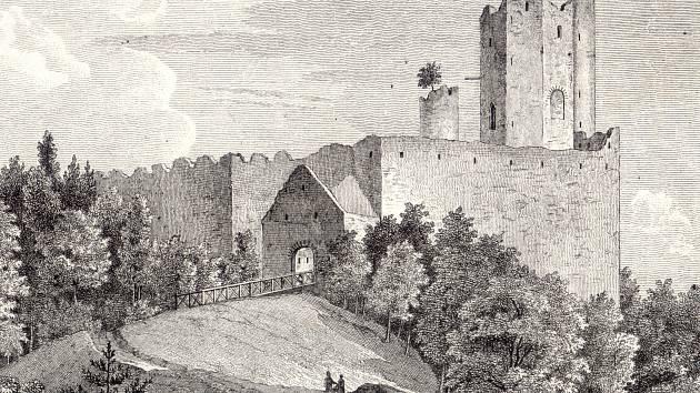 Obrázek zpodobňuje zbytky hradu zhruba v roce 1848.