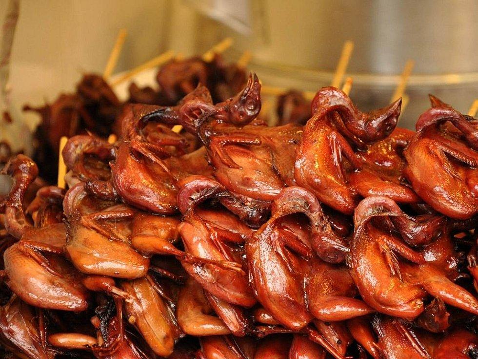 holoubátka na špejli - pařátky a hlavička jsou dle Číňanů nejlahodnější