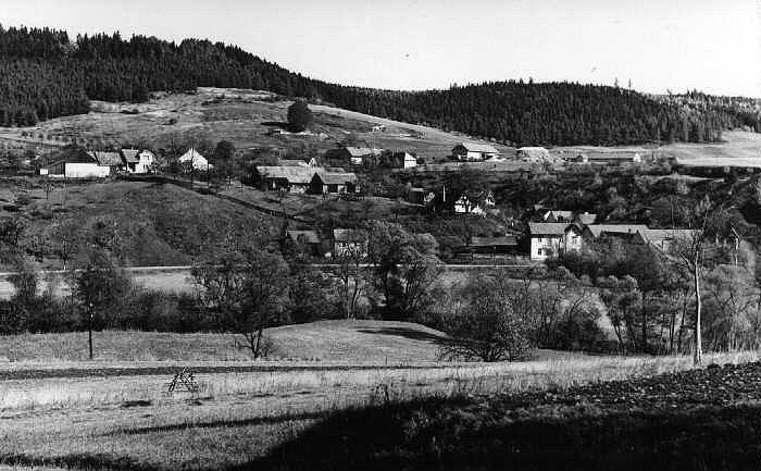 Před výstavbou přehrady - Lazinov s říčkou Křetínkou.