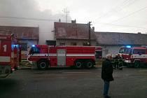 Požár tří stodol v Šebetově na Blanensku.