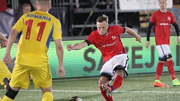 Nejlepší hráč Blanenska v malém fotbale za rok 2017 Jan Koudelka v dresu národního mužstva na mistrovství Evropy v Brně.