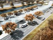 Prvotní architektonická studie nového autobusového nádraží v Blansku, pohled na budovu.