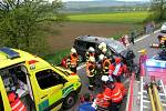 Vážná dopravní nehoda s šesti zraněnými na silničním tahu Brno-Svitavy u Krhova na Blanensku.